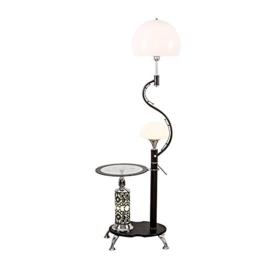 MMM- Einfache Moderne Stil Eisen Lampe Körper Acryl Lampenschirm E27 * 2 Fußschalter Mit Couchtisch Schwarz Weiß Stehlampe (30 * 166 cm) ( Farbe : Schwarz ) - 1