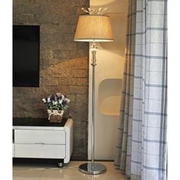MMM- Stehlampe, europäischen warmen Wohnzimmer Schlafzimmer Studie romantische transparente Kristall Anhänger Nachttisch Eisen Körper Baumwolle Lampenschirm Stehlampe - 1