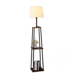 MMM- Stehlampe Wohnzimmer Schlafzimmer Vertikale Tischlampe Sofa Tablett Regal Eisen Holz Tuch Material Stehlampe (Größe: 30 * 156 cm) ( Farbe : Schwarze Walnussfarbe ) - 1