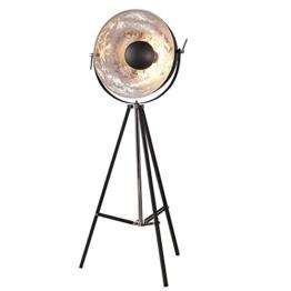 Moderne Design Stehlampe BIG STUDIO schwarz silber Lampe Blattsilber Optik 160 cm - 1