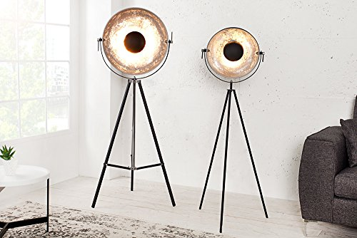moderne design stehlampe big studio schwarz silber lampe blattsilber optik 160 cm 4 redidoplanet. Black Bedroom Furniture Sets. Home Design Ideas
