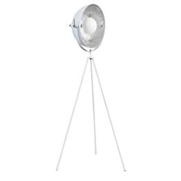 Moderne Design Stehlampe STUDIO 140 cm weiss silber Lampe Blattsilber Optik - 1