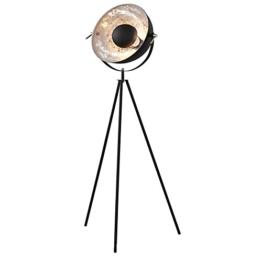 Moderne Design Stehlampe STUDIO schwarz Blattsilber Optik 140cm Stehleuchte Lampe - 1