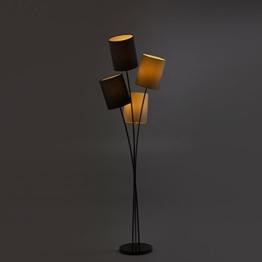 Moderne Designer Stehlampe mit 4 Lampenschirmen in weiß, grau, schwarz und beige | Wohnzimmer | Lounge | LED geeignet | Höhe 160 cm - 1