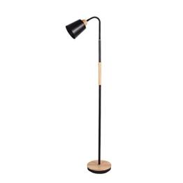 Moderne minimalistische Metall Holz Stehlampe schwarz / weiß Leselampe Schlafzimmer Wohnzimmer Stehlampe 130cm hoch XIANGY ( Farbe : Schwarz ) - 1
