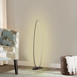 Moderne ovale LED-Stehlampe, Wayking-Aluminium-Stehleuchte mit 27Watt, 2100 Lumen, energiesparendes und warm-weißes Licht für Wohnzimmer, Schlafzimmer, Studie, Büro, Schlafsaal -- Schwarzes - 1