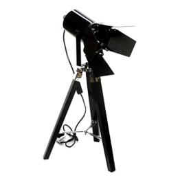 Moderne Stehlampe SPOT mit Klappen – Schöne moderne Stativlampe aus Metall Scheinwerfer in Schwarz /Silber Filmfans Geschenkidee Dreibein-Bodenlampe Strahler BRILLIBRUM® - 1