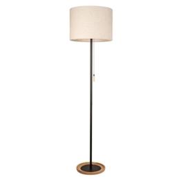 Moderne Stehleuchte 1 flammig schwarzes Metall Holz weißer Stoffschirm sanftes Licht Wohnbereich Arbeitszimmer exkl. 1*40W E27 - 1