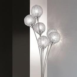 Moderne Stehleuchte   6-flammig mit Kugeln aus Aluminiumdrahtgeflecht   Stehlampe stahlfarbig + Gratis LED-Taschenlampe aus Metall - 1
