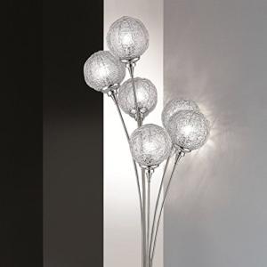 Moderne Stehleuchte | 6-flammig mit Kugeln aus Aluminiumdrahtgeflecht | Stehlampe stahlfarbig + Gratis LED-Taschenlampe aus Metall - 1