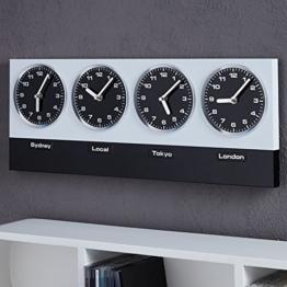 """MODERNE WANDUHR """"GLOBAL"""" mit 4 Uhrwerken und Magneten silber schwarz von Xtradefactory - 1"""