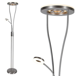 Moderner LED Deckenfluter mit Lesearm | Fluter mit drehbarem Innenring | Stehleuchte 187,50cm Höhe inklusive LED-Leuchtmittel | Stehlampe Leselampe | 2x Gratis LED Teleskop Stab Taschenlampe - 1