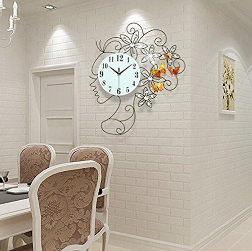modische dekorative watch metall diamond leise wanduhr f r das schlafzimmer wohnzimmer 20 zoll. Black Bedroom Furniture Sets. Home Design Ideas