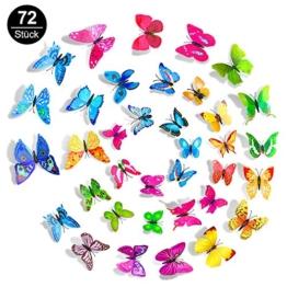 Mopoin 72 Stück 3D Schmetterling Aufkleber Wanddeko Wandtattoo Abziehbilder Wandsticker für Wohnung, Raumdekoration Magnet + Klebepunkten Wand-Dekor (Blau + Lila + Grün + Gelb + Rosa + Rot) - 1