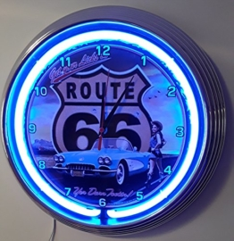 NEONUHR NEON CLOCK- BLUE CORVETTE C1 WITH PINUP GIRL-WALLCLOCK SHINING WITH BLUE NEON RIM-WANDUHR BELEUCHTET MIT BLAUEN NEON RING! - 1