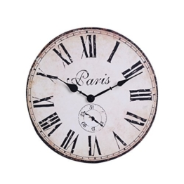 NIKKY HOME Runde Wanduhr Paris Tour E Konservierungs El 1887 Muster Frankreich Retro-Stil Vintage handgemachte dekorative Holz 30cm - 1