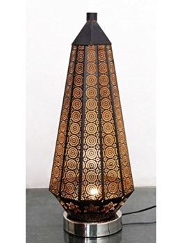 Orientalische kleine Tischlampe Lampe Adab Schwarz E14 | Marokkanische Tischlampen klein aus Metall, Lampenschirm Schwarz | Nachttischlampe modern, für Vintage, Retro & Landhaus Stil Design (Gross 53cm) - 1