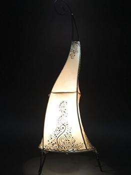 Orientalische Stehlampe Daya Natur 70cm Lederlampe Hennalampe Lampe | Marokkanische Große Stehlampen aus Metall, Lampenschirm aus Leder | Orientalische Dekoration aus Marokko, Farbe Natur - 1