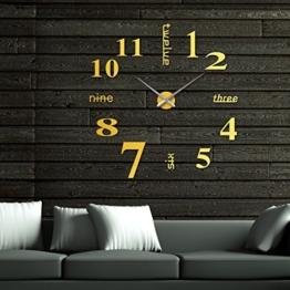 OrrOrr römische Zahl Moderne Wanduhr Design Gold Wandtattoo Dekoration Uhren Spiegel Geschenk MAX XXL - 1