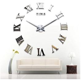OrrOrr römische Zahl Moderne Wanduhr Design Wandtattoo Dekoration Uhren Spiegel Geschenk MAX XXL Silber - 1