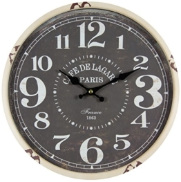 perla pd design Metall Wanduhr mit Glasscheibe Vintage Design Cafe de Lagare altweiß lackiert ca. Ø 30 cm - 1