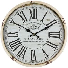 perla pd design Metall Wanduhr mit Glasscheibe Vintage Design Chateau Canet altweiß lackiert ca. Ø 30 cm - 1
