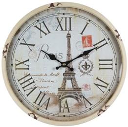 perla pd design Metall Wanduhr mit Glasscheibe Vintage Design Eifelturm Paris altweiß lackiert ca. Ø 30 cm - 1