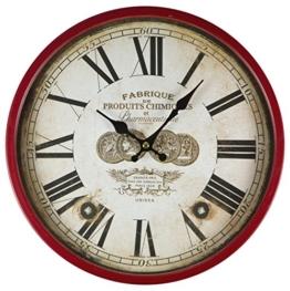 perla pd design Metall Wanduhr mit Glasscheibe Vintage Design Fabrique dunkelbraun/rotbraun lackiert ca. Ø 30 cm - 1