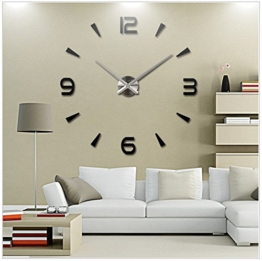 PREMIUM Trendige XXL Silber Wanduhr (∅ 100 cm) individuell gestaltbar & selbstklebend - Wand Uhr Deko Wanddeko Wandtattoo Aufkleber Wandaufkleber - 1