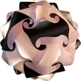 Puzzle Lampe DIY Kugellampe Stehlampe Hängeleuchte Deco Leuchte Moderne Designer Lampe Lampenschirm indirektes Licht Wolkenlampe Leuchten kreativ basteln Bausatz 30 Teile L-35cm Schwarz - Weiss - 1
