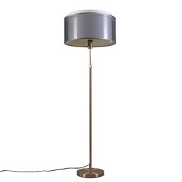QAZQA Design / Modern / Stehleuchte / Stehlampe / Standleuchte / Lampe / Leuchte Parte Kupfer mit schwarz-weißem Schirm Höhenverstellbar / Innenbeleuchtung / Wohnzimmer / Schlafzimmer / Küche Kunststo - 1