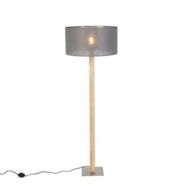 QAZQA Landhaus / Vintage / Rustikal Rustikale gerade Stehlampe Holz mit dunkelgrauem Schirm 50 cm - Pillar / Innenbeleuchtung / Wohnzimmer / Schlafzimmer / Küche / Metall / Textil / Andere LED geeign - 1