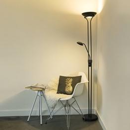 QAZQA Modern LED-Stehleuchte / Stehlampe / Standleuchte / Lampe / Leuchte schwarz - Diva 2 Dimmer / Dimmbar / Innenbeleuchtung / Wohnzimmer / Schlafzimmer / Küche / Deckenfluter Metall Rund / Länglich - 1