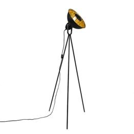 QAZQA Modern Stehleuchte / Stehlampe / Standleuchte / Lampe / Leuchte Magna schwarz mit Gold / Messing / Innenbeleuchtung / Wohnzimmer Metall Rund / Länglich / LED geeignet E27 Max. 1 x 40 Watt - 1