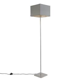 QAZQA Modern Stehleuchte / Stehlampe / Standleuchte / Lampe / Leuchte VT 1 grau / Innenbeleuchtung / Wohnzimmer / Schlafzimmer / Küche Metall / Textil / Quadratisch / Länglich / LED geeignet E27 Max. - 1
