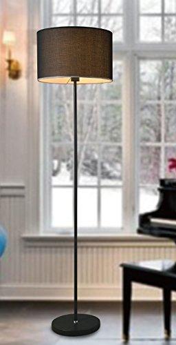 Retro Stehlampe 162 cm - schwarz - Design Standleuchte rund Metall Stehleuchte Wohnzimmerlampe - 1