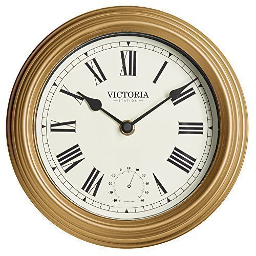 retro wanduhr vintage wetterfest metall gold effekt 22 cm durchmesser beschichtete uhr f r innen. Black Bedroom Furniture Sets. Home Design Ideas