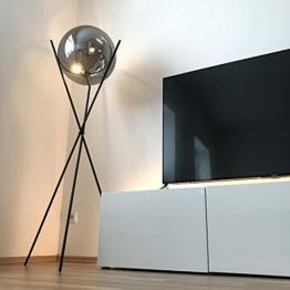 s.LUCE Stehleuchte Sphere 40 mit rauchiger Glaskugel Stehlampe Dreibein Glaslampe Designleuchte - 1