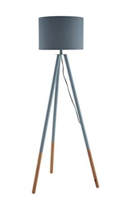 SalesFever Stehlampe, Stehleuchte, Metall- + Holzbeine in grau-braun, Lampenschirm in Grau, Polyester, robuster Stoff, Holz, Metall, Wohnzimmerlampe, Druckschalter, 42 x 29 x 153 cm - 1