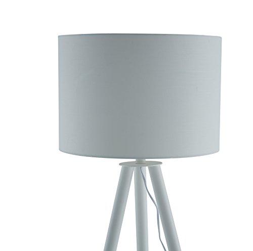 salesfever stehlampe stehleuchte metall holzbeine in wei braun lampenschirm in wei. Black Bedroom Furniture Sets. Home Design Ideas