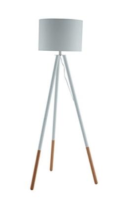 SalesFever Stehlampe, Stehleuchte, Metall- + Holzbeine in weiß-braun, Lampenschirm in Weiß, Polyester, robuster Stoff, Holz, Metall, Wohnzimmerlampe, Druckschalter, 43 x 29 x 153 cm - 1