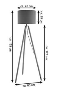 SalesFever Stehlampe, Stehleuchte, Metall- + Holzbeine in weiß-braun, Lampenschirm in Weiß, Polyester, robuster Stoff, Holz, Metall, Wohnzimmerlampe, Druckschalter, 43 x 29 x 153 cm - 5