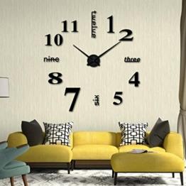 samLIKE Acryl Moderne DIY Wanduhr 3D Spiegel Oberfläche Aufkleber Home Office Decor (Schwarz) - 1