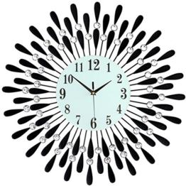 schwarz Gold Metallisch Wanduhr Uhren Runden Leuchtend Modern Geeignet für Wohnzimmer & Schlafzimmer & Haus & Küche Stumm lautlos Groß Größe 60 * 60 cm & 70 * 70 cm ( Color : Black , Size : 60*60 cm ) - 1