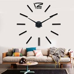 Schwarze Riesen Designer Wanduhr Wohnzimmer Dekoration Wandtatoo XXL 3D aus Acryl - 1