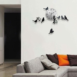 Schwarze Vögel Wand Uhr Kunst Designer Modern Familie Wohnzimmer Raum Design Deko - 1