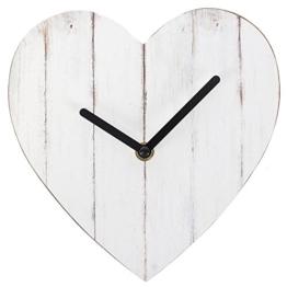 Shabby Chic weiß Herzform MDF Uhr - 1