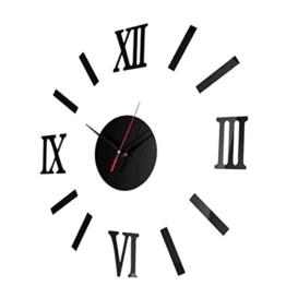 Sharplace DIY Wanduhr 3D Spiegel Design Wohnzimmer Wandschmuck Groß Uhr Uhrwerk, Romanische Nummer - Schwarz - 1