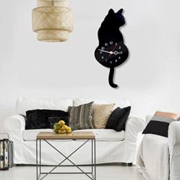 Shsyue® Katze Wanduhr, Ultra-leise Pendeluhr aus Acryl, Schwanz Wackeln, 18*42cm (Schwarz) - 1