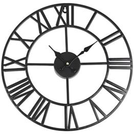 SOLEDI Wanduhr Römische und Retro Wand Clock Europäische Uhr Deko (Schwarz) - 1
